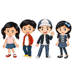 Four asian kids with happy face vector
