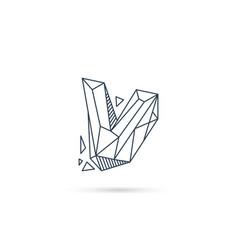Gemstone letter v logo design icon template vector