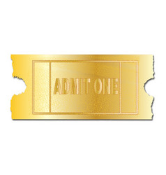 Gold ticket admit one vector