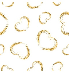 Golden hearts chaotic seamless pattern 2 white vector