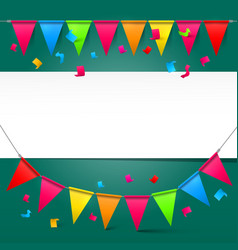 Green Background with Colorful Party Flags and vector