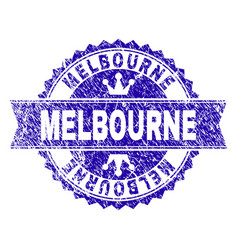 Grunge textured melbourne stamp seal with ribbon vector