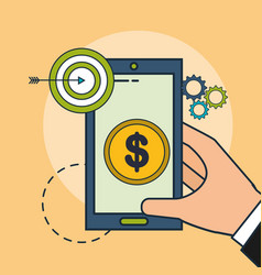 hand holding phone money target vector image