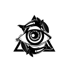 Hand sketched all seeing eye pyramid symbol with vector