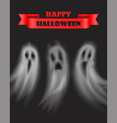 Happy halloween poster with text and ghosts vector