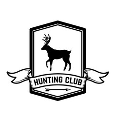 hunting club emblem template with silhouette of vector image