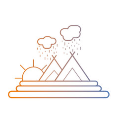 line natural mountains with sun and cloud raining vector image