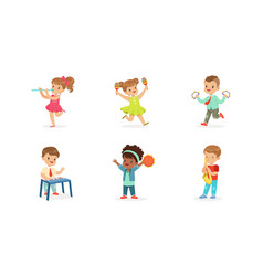 Little kids smiling and playing musical vector