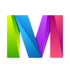M letter one line colorful logo design template vector