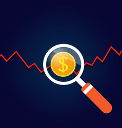 Magnifying glass above the graph of profit growth vector