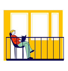 Male character sitting on house balcony reading vector