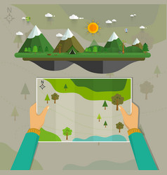 Man on a hiking trip holding a map vector