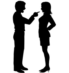 Man woman yell point in couple argument vector image