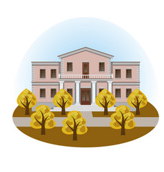 manor house in autumn landscape vector image