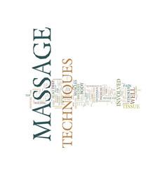 Massage techniques text background word cloud vector