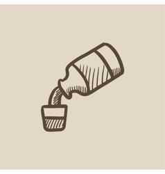 Medicine and measuring cup sketch icon vector