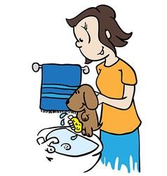 Mom washing a dog vector