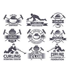 Monochrome badges curling labels for sport vector