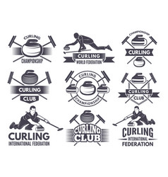 Monochrome badges of curling labels for sport vector