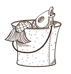 Monochrome fish in bucket isolated on white vector
