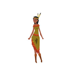 native american indian girl character in vector image