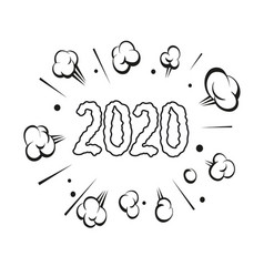 numbers 2020 hand drawn comic book explosion vector image
