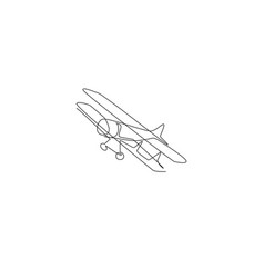 one single line drawing vintage biplane flying vector image