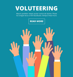 people raised hands voting arms volunteering vector image