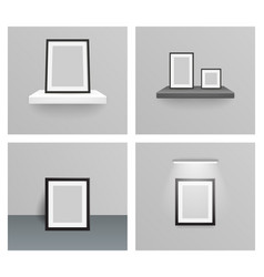Photo frame 3d realistic design hanging shelf wall vector