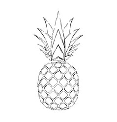 pineapple grunge with leaf tropical silver exotic vector image