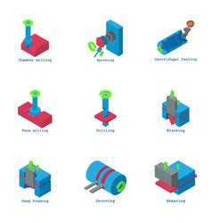Pipeline icons set isometric style vector