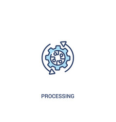 Processing concept 2 colored icon simple line vector