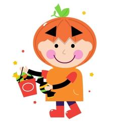 Pumpkin halloween boy vector image