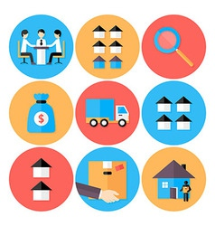 Real Estate Flat Circle Icons Set vector