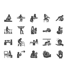 Rehabilitation icon set vector