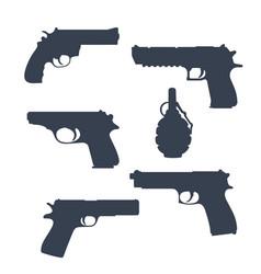 revolver pistols gun grenade silhouettes vector image