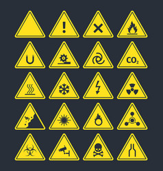 road warning signs set triangular yellow symbols vector image