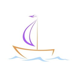 Sailing vessel on waves vector image