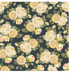 seamless floral pattern with vintage white roses vector image