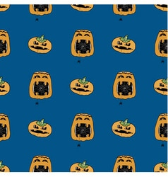 Seamless pattern from pumpkins with spider vector