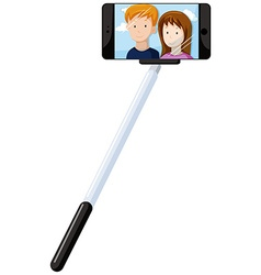 Selfie stick and mobile phone vector image vector image