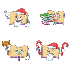 Set of open book character with santa candy judge vector