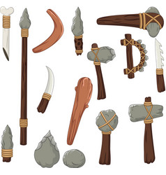Set tools of prehistoric man vector