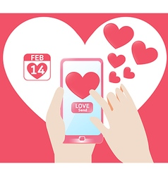 Smartphone send love heart in valentines Day vector