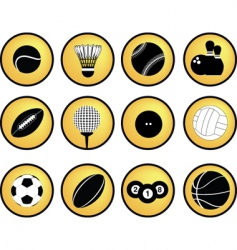 sports buttons yellow vector image vector image