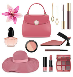 spring female accessories set 4 vector image