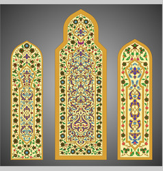 Stained-glass windows with flowers ornament vector