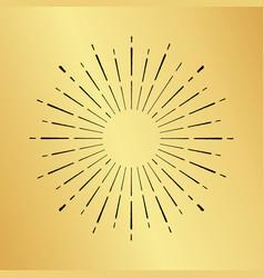 sun burst vintage hand drawn hipster gold logo vector image