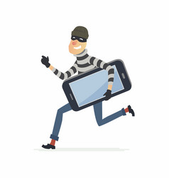 Thief stealing smartphone - cartoon people vector
