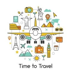 Time to travel plane line art thin icons vector